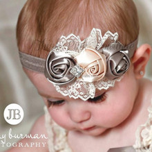 Baby <strong>Hair</strong> Bows Girls Headwear new fashion <strong>Hair</strong> Bands Lace 3 Rose headbands Children Flower <strong>Hair</strong> <strong>Accessories</strong>