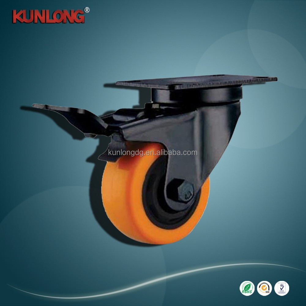 SK6-Z75108P Orange Rubber Wheel with brake / heavy duty Swivel Casters
