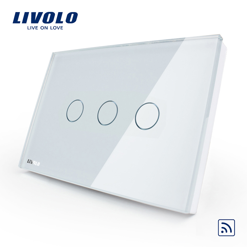 US/AU standard Livolo fireproof top quality remote switch fashion white crystal glass wall switch power supply