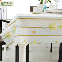 Factory price fabric rectangle tablecloth matching kitchen curtains