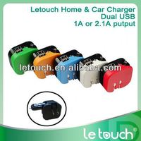 2 in 1 charger for iphone5 wall and car use for cell phones, dual usb ports 2.1A output
