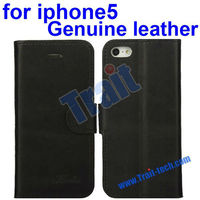 Cheap Flip Stand Real Leather Phone Case for iPhone 5 Dropship 5 Colors Available