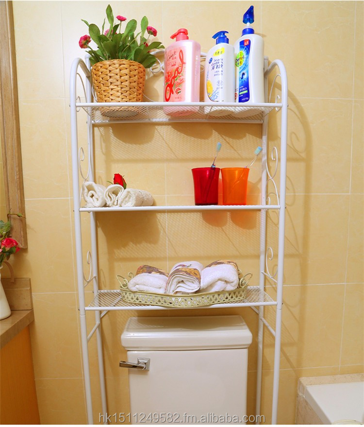 durable 3-tier metal toilet space saver bathroom shelf