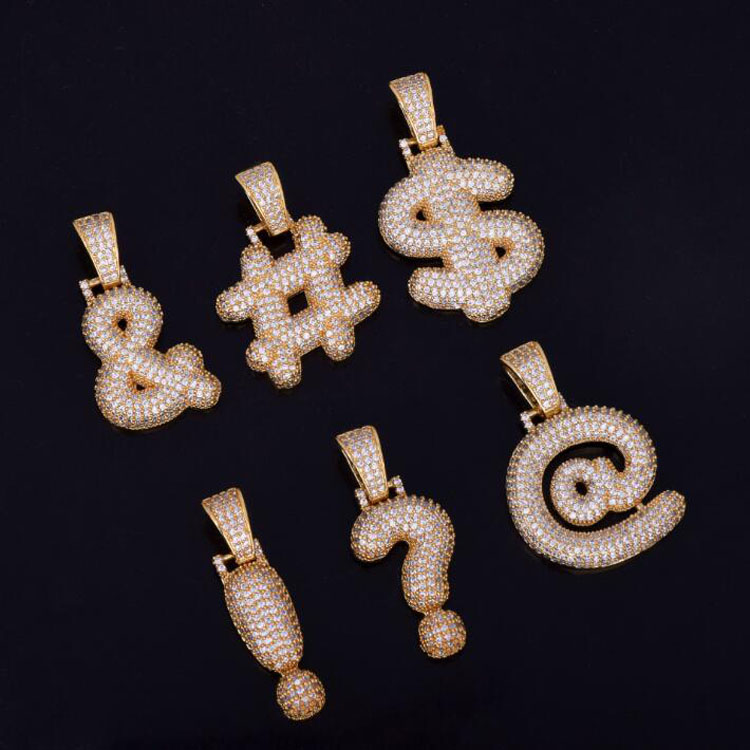 Question Mark Dollar Sign Iced Out Custom Bubble Cubic Zircon Pendant <strong>Charm</strong>