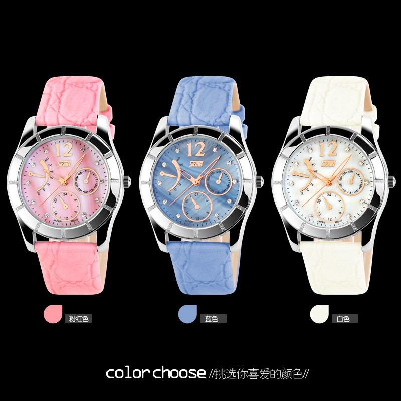 2015 hot selling waterproof skmei fashion watch for ladies and girls