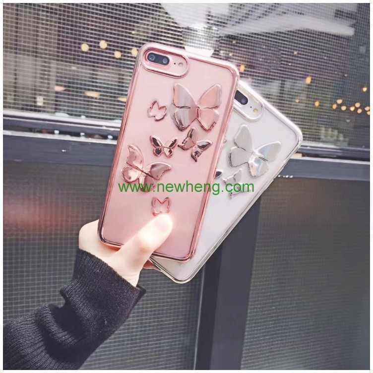 New Product electroplating bumper tpu 3d butterfly design phone case for iphone7 plus