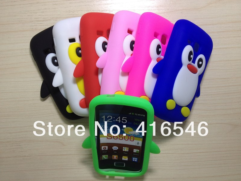 3D Penguin Soft Silicone Case Back Case for Samsung Galaxy Mini 2 S6500