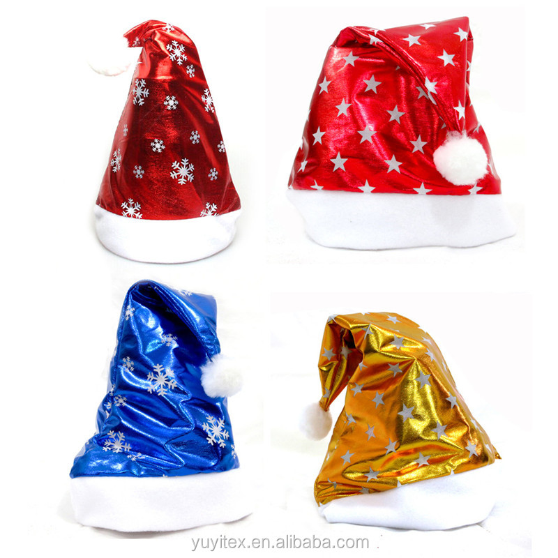 Bright Shiny Snowflake Christmas Hat Adult Child Xmas Holiday Candy Party Decoratives Supplies Candy Colors Cute Santa Claus Cap