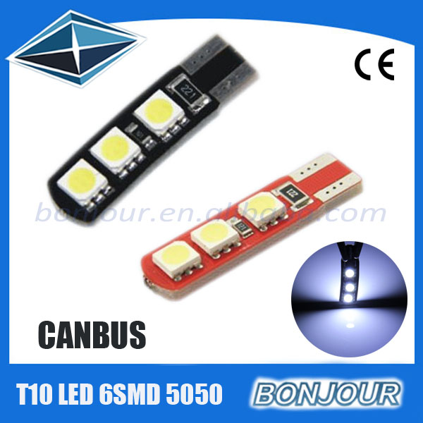 hot sale auto accessories new red pcb 6smd 5050 t10 canbus led car light