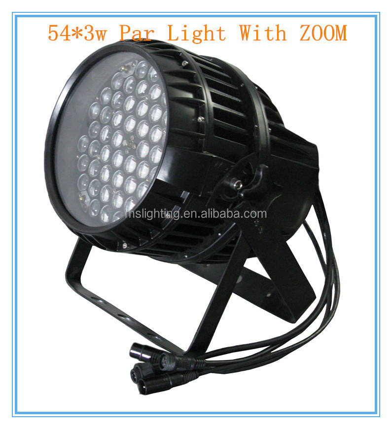 MS Lighting Professional Stage Lighting Die-cast Aluminum RGBW Waterproof Zoom 54*3w LED Par Light