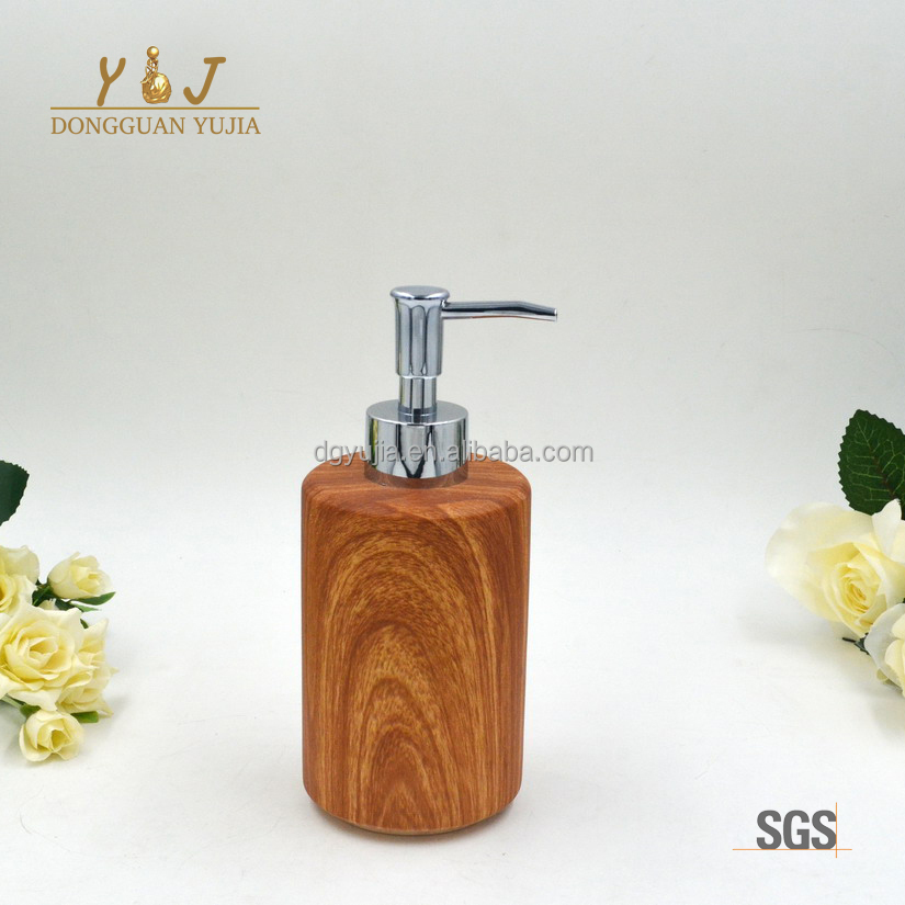 Wood Grain Polyresin Soap and Lotion Dispenser