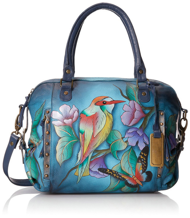 2015 colorful digital print hand painted fashion ladies cow leather leader bags A008