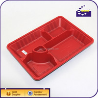 With super quality PET plastic blister disposable 4 compartments food tray