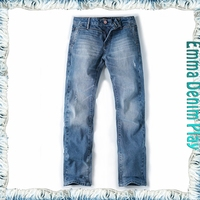 2016 Hottest Premium Men's Blue Straight Leg Denim Jeans Scratch Customized Labels