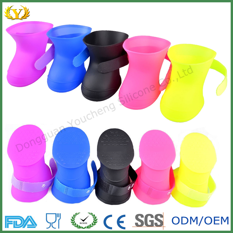 wholesale FDA eco-friendly silicone pet shoe high quality rain boots for dog, cat