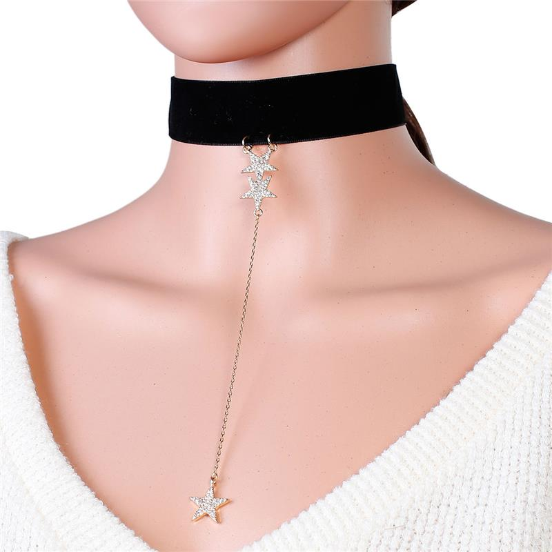 Velvet Choker Necklace Gold Plated Black Star With Clear Rhinestone Charm Velvet Choker