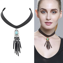 Punk Gothic Long Black Leather Chain Necklace Stretch Tattoo Choker Elastic Tassel Necklaces with Turquoise Pendant