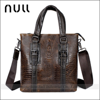 black mens genuine crocodile skin leather handbag for business