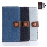 hot sell denim mobile phone case for apple ip 7plus Flip Wallet Bags Cases for iphone 7plus case