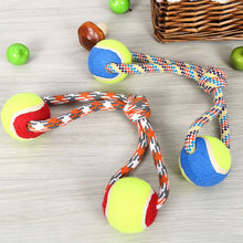 Double Tennis Ball Cotton Rope Pet Chewing Toy Ropes for Dogs Bite