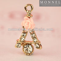 H355-1 Monnel Hot Popular Alloy Gold Tone Clear Crystal Pink Flower Paris France Eiffel Tower Metal DIY Charm Necklace Pendant