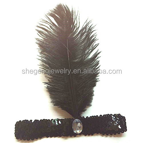FLAPPER VINTAGE SILVER WHITE PURPLE BLACK FEATHER SEQUIN HEADBAND