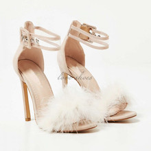 Sex high heel women sandals Perspex Strap Fluffy Heel In Nude Faux Suede