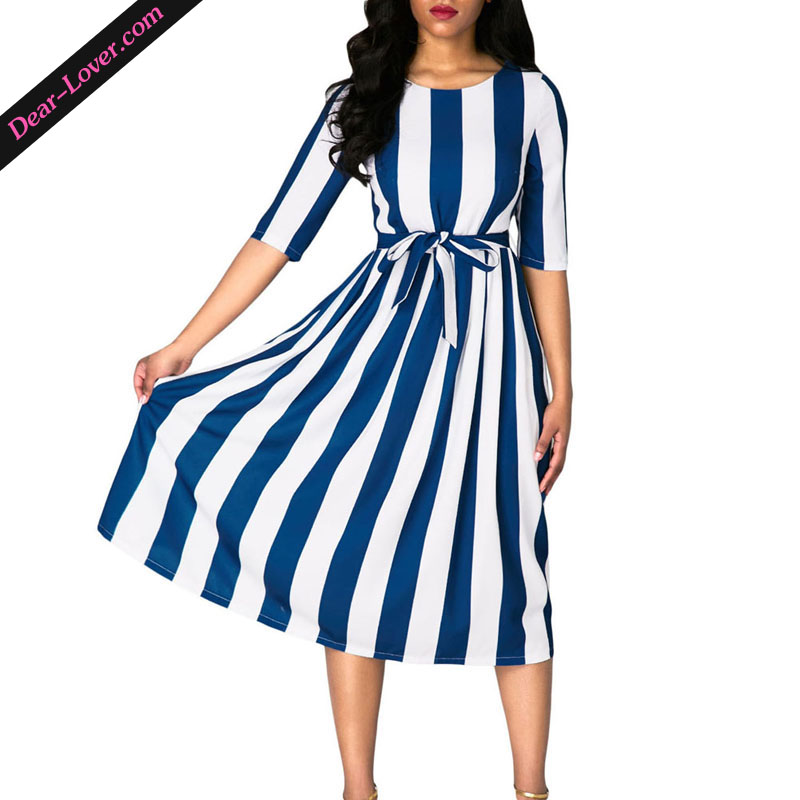 2017 Women Stripe Print <strong>O</strong>-Neck Half Sleeve Midi Dress