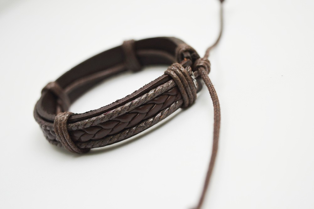 Fashion brown leather braided bracelet for girls