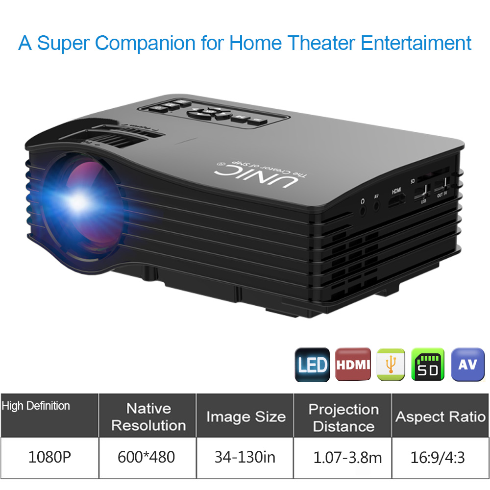 2017 Hotsale LED Projector LCD Projector TV Video Home Theater Portable Mini Multimedia Projector