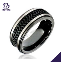 Fashion stainless steel men black silicon wedding band ring