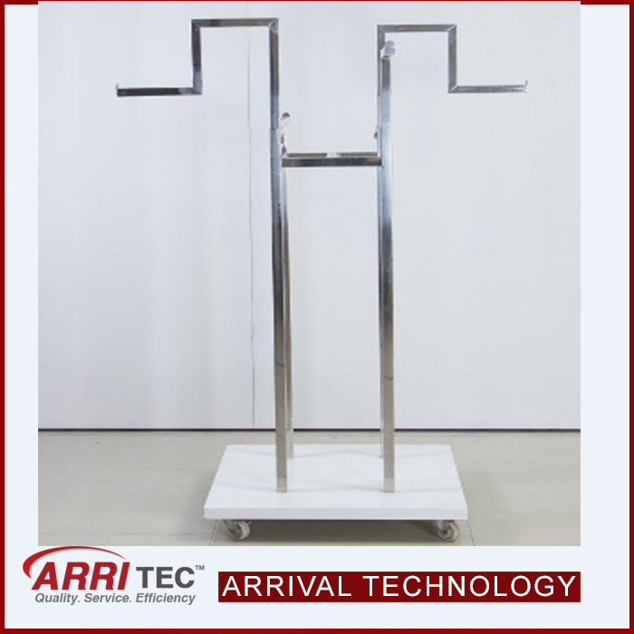 cloth store metal display stand floor hanging rail lady man children garment display movable clothes rack