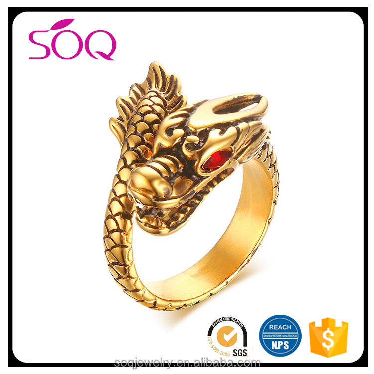 Factory outlet fashion vintage stainless steel dragon shaped rhinestone eyes latest gold finger ring designs