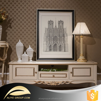 AH23-luxury italian furniture of white wood carved tv stand cabinets