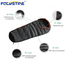 Cold weather duck down mummy sleeping bag