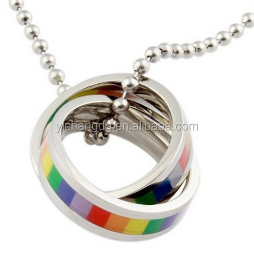 New Design Rainbow Ring Pendant, Stainless Steel Pendant Two Rainbow Ring Drop Rubber Multicolor Round Shaped,silver