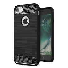 Ultra Slim Soft Carbon Fiber Brush TPU Silicone Cell Phone Case Cover For IPhone 8