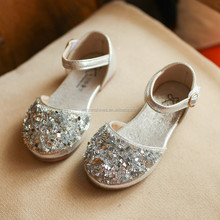 Size 26-30 Princess Silver Gray Girl Shoes 2017 New Spring Summer Beading Children Sandal Fancy Kids Girls Sandals Wholesale