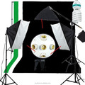 Photography Kit Photo Studio Lighting Softbox Muslin Backdrop Background with Three Softbox Light Bulbs Stand Set