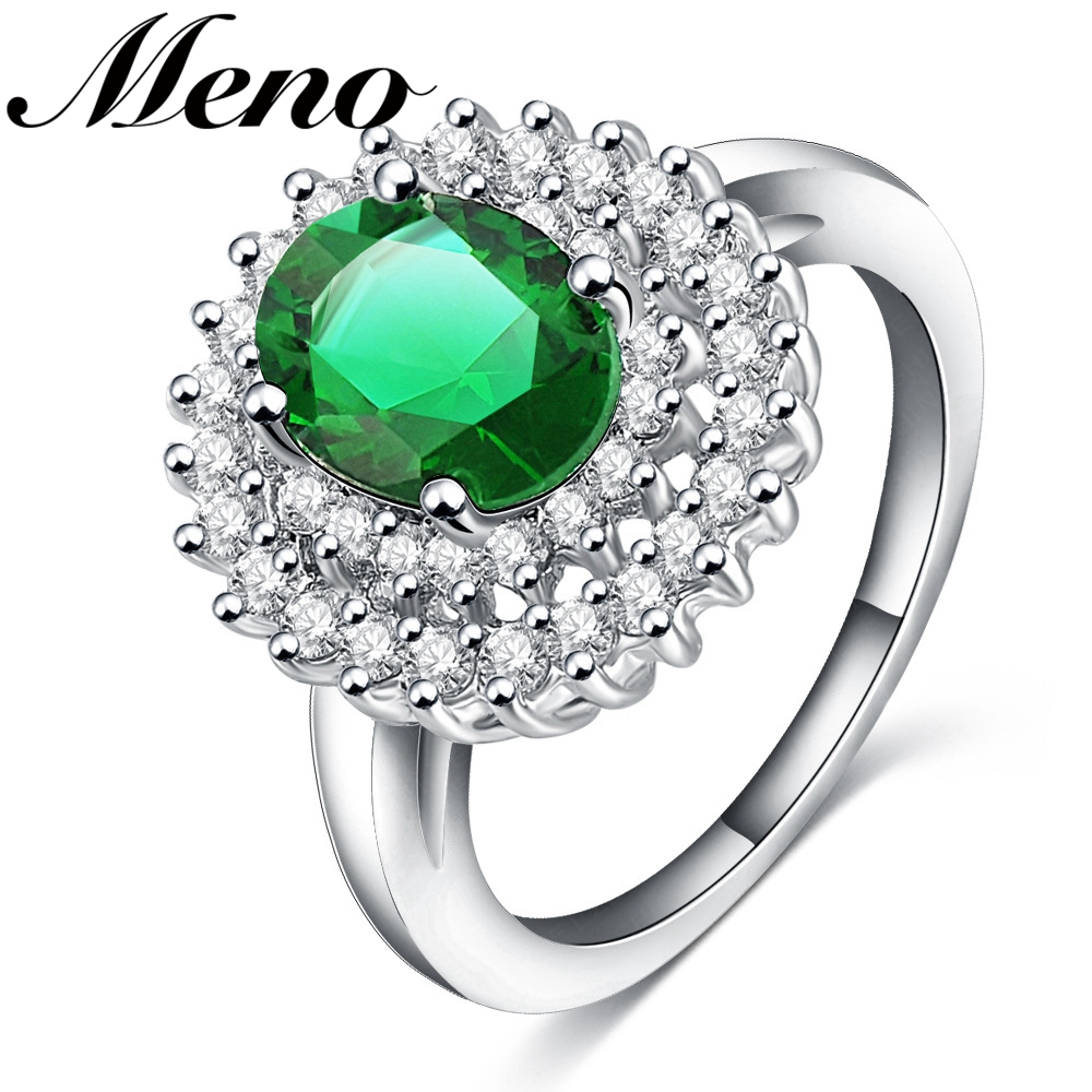 Meno Rhodium plated group setting oval-shaped green zircon elegant finger Ring