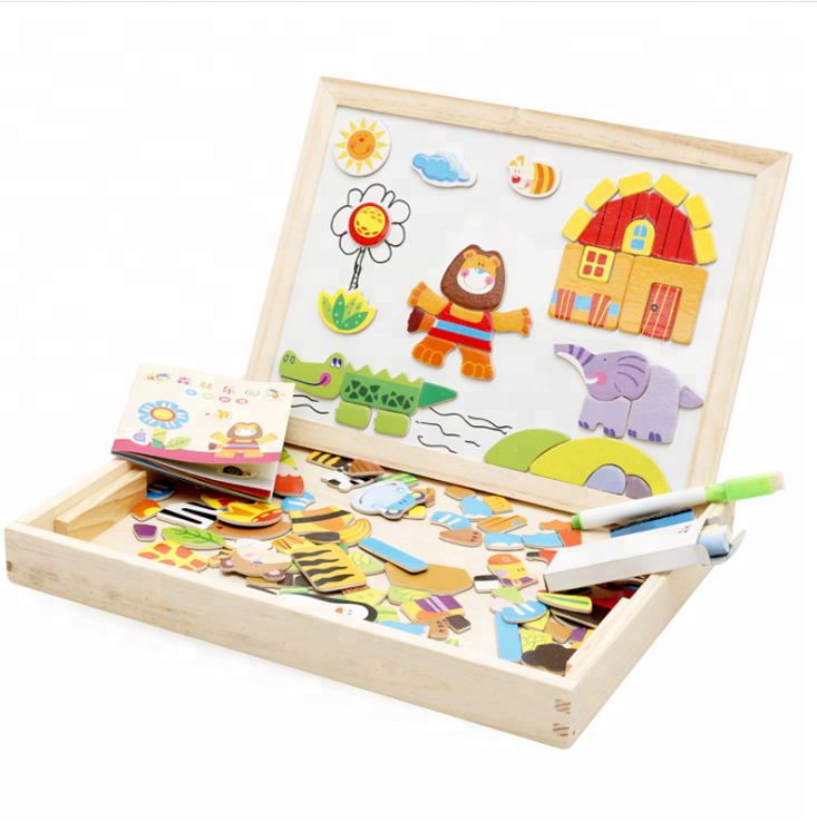 Happy Farm Forest Park Magnetic Wooden Double Sided Puzzle / Children's educational puzzle toy / educational wooden alphabet pu