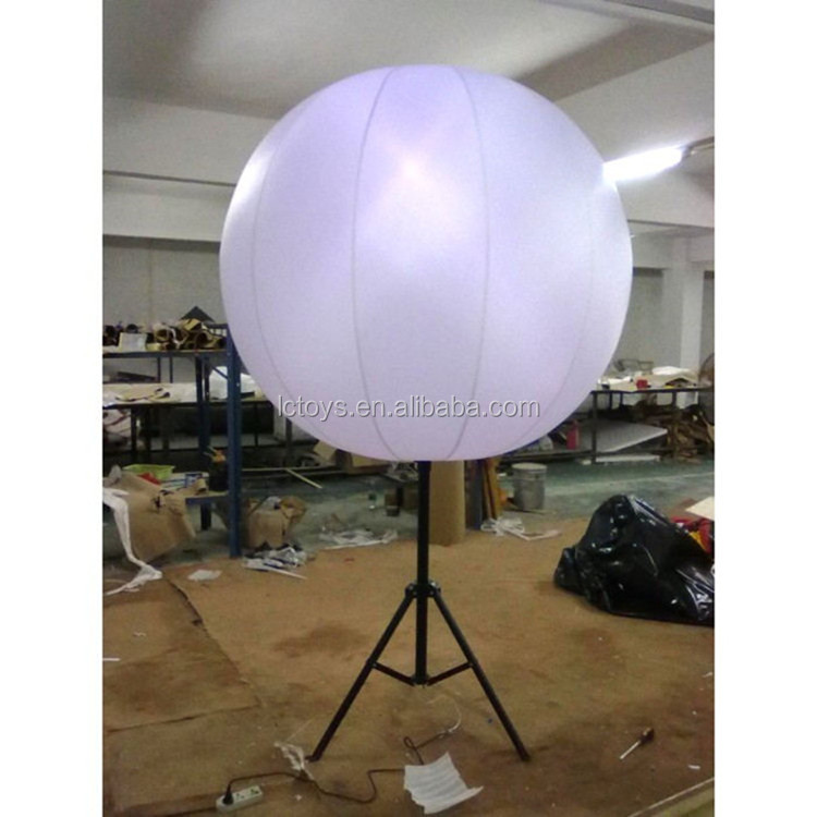 Hot selling printable inflatable helium large balloon light floating in the sky with stand, led balloon