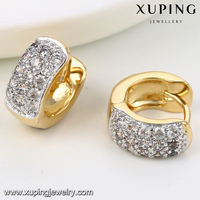 91944 Fashion Gold Plated Ladies CZ Stone Hoop Huggie Earring