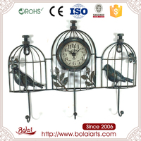 Retro birdcage selling high-quality multi-purpose design quartz wall clock for coffee shop