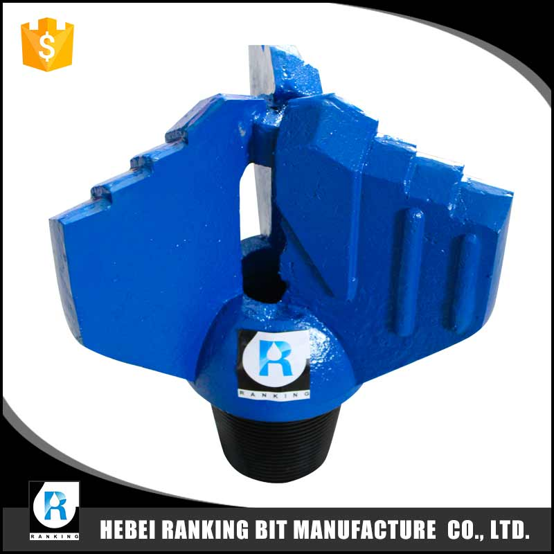 High quality water well drilling carbide insert 3 blades wings drag bit for oilfiled