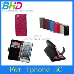 Magnet Genuine leather flip case for iphone 5C