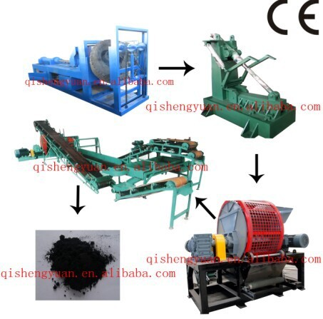 Full Automatic OTR Big Tire Recycling Line / Waste Tyre Recycling Plant / Rubber Powder Plant