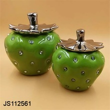 Ceramic Apple storage box with rhinestones home decoration