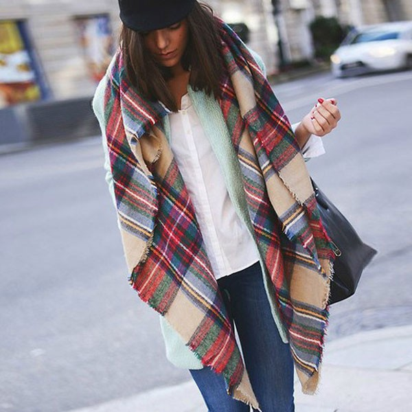 winter cashmere feeling women warm tartan scarf
