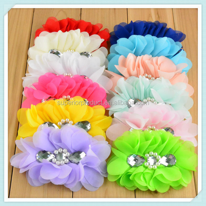 chiffon flower beaded stamen chiffon petals hair flower band for baby accessories hair wholesale